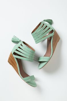 Nubuck Gladiator Wedges - Anthropologie.com | Size 8 in Mint color