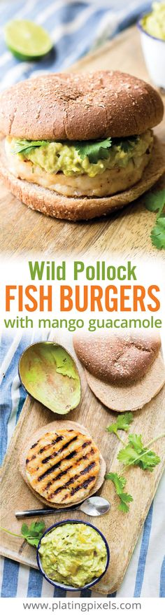 Quick and healthy Wild Pollock Fish Burgers with Mango Guacamole. Grilled lean omega-3 rich fish burger with creamy mango and citrus guacamole on a whole wheat bun. Plus a low carb option. - www.platingpixels.com
