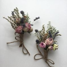 Vintage blush dried hedgerow rosebud & thistle button hole with a soft sprinkle of baby's breath and lavender. Love You Bride: Specialise in creating bespoke wedding Bouquets, Buttonholes, Corsages and Wedding veils.