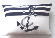 Navy and white anchor pillow. A nautical themed coastal inspired sea pillow cover that is made with white & Navy Blue Striped linen fabric