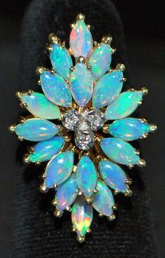 14K Opal Diamond Dinner Ring: