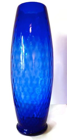 A #Vintage Blue #Vase Tall and Slim 1960s by AbundantArtsVintage #Etsy to purchase click image $59.00