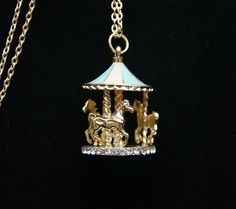 1pcs 35x25mm Colorufl  Plated with Germstones Merry Go Around  Charm Pendant. $2.50, via Etsy.