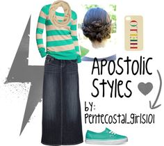 """I knew I should have kept my denim skirt!  I just found it in the closet about two years ago -man it would have been in style.  """"Apostolic Styles"""" by alexispuckett on Polyvore"""