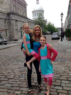 """Mount Prospect moms debut national family travel TV show. Colleen Kelly, of Mount Prospect, poses with her daughters in Montreal while filming """"Family Travel With Colleen Kelly. Mount Prospect, Old Montreal, Gisele, Family Travel, North America, Tv Shows, Maple Sugar, Poses, Mom"""