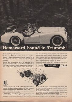 1959 triumph tr 3 convertible import sport car #travel ad 7853 from $21.95