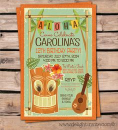 Tikl Luau Hawaiian Party Invitations Tiki Theme Birthday