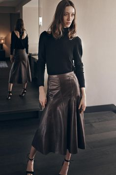 Halston Heritage   Fall 2016 Ready-to-Wear   11 Black 3/4 sleeve sweater and brown leather midi skirt
