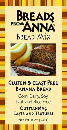 Gluten-free Banana Bread Mix - Gluten, Yeast, Corn, Dairy, Soy, Nut (including peanuts) Rice and GMO Free  Banana Bread Mix. t is moist and has a genuine banana flavor because all the banana flavoring comes from pure bananas, there is no added flavoring. #glutenfree