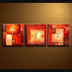 Stunning Modern Abstract Painting Artist Oil Painting Stretched Ready To Hang Abstract. This 3 panels canvas wall art is hand painted by Bo Yi Art Studio, instock - $126. To see more, visit OilPaintingShops.com