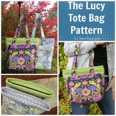 So Sew Easy The Lucy tote bag PDF sewing pattern Easy Sewing Patterns, Bag Patterns To Sew, Handbag Patterns, Wallet Pattern, Bra Pattern, Thing 1, Sewing Crafts, Sewing Projects, Sewing Tips