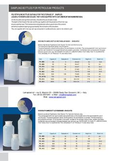 POLYETHYLENE BOTTLES SUITABLE FOR THE STORAGE OF SAMPLES: LIQUIDS,POWDERS AND SOLIDS.THEY ARE EQUIPPED WITH CAP,INNERCAPAN...