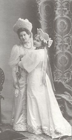 Anna Vyrobova, lady-in-waiting, best friend and confidante to Tsaritsa Alexandra Fyodorovna, dressed for the 1903 ball in the Winter Palace