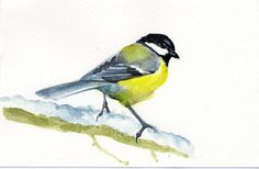 CHICKADEE Bird Painting Watercolor original by VerbruggeWatercolor, $38.00