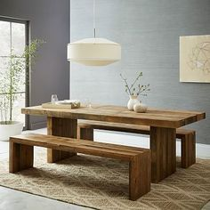 Emerson expandable dining table - West Elm - reclaimed wood - dimensions: expands to Love this table. love this table West Elm Dining Table, Timber Dining Table, Reclaimed Wood Dining Table, Dining Table With Bench, Dining Table Design, Dining Room Table, Pine Table, Kitchen Dining, New Furniture