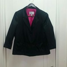 Black Satin Blazer Loose fitting. hot pink lining. Minor tear on back...seen in last picture. Shell....60% cotton 40% polyester. Lining...100% polyester Old Navy Jackets & Coats Blazers
