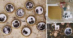 Kreatívny DIY nápad a návod urob si sám na milé vianočné ozdoby s fotografiami na vianočný stromček. Ozdoby na Vianoce z papiera a rodinných fotiek