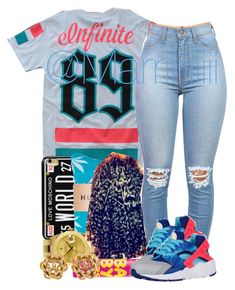 """Landstown Orientation"" by trill-forlife ❤ liked on Polyvore featuring Love Moschino, Rolex, Maybelline and NIKE"