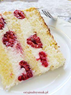 Tort z malinami i bita śmietaną   Oryginalny smak Dessert Cake Recipes, Dessert Bread, Easy Cake Recipes, Sweet Recipes, Baking Recipes, Chocolate Ganache Tart, Polish Desserts, Raspberry Cake, Cake Business