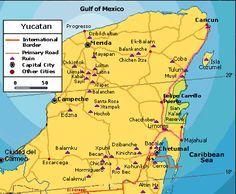 Map of Yucutan Maya ruins  Mapa
