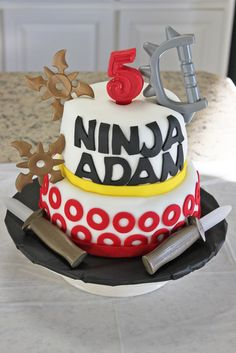 Fun cake at a Ninja Birthday Party!  See more party ideas at CatchMyParty.com!