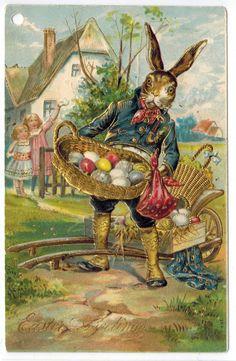 Easter Fantasy Dressed Bunny Rabbit Brings Eggs Postcard Emb DB 1909 Gilt | eBay