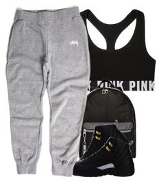 """Somebody Pm Me Im Bored "" by arkaycia ❤ liked on Polyvore featuring Victoria's Secret, NIKE and Stussy"