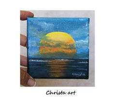 Original oil painting on canvas miniature ''sunset'' by 0ilpaintingsChrista,10x10cm