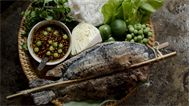 Chargrilled salt-crusted lemongrass fish
