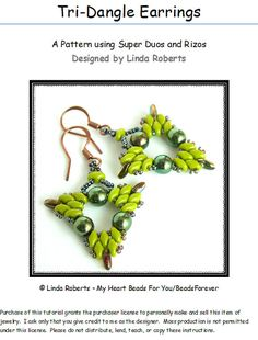 Beading Tutorial  TriDangle Earrings  Super Duo by beadsforever, $7.50