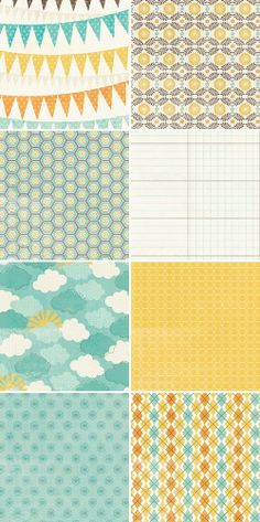 Aqua, yellow, cream: I like these colors for gender neutral nursery or for a boy