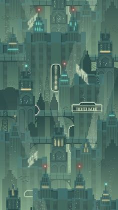 Underwater City - Pixel art video game unused background concept inspired by Bioshock's Rapture