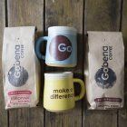 bag of fresh, small batch roasted Gobena Coffee along with two handmade, 12 oz Gobena Mugs. To top it off, a bag of chocolate covered espresso beans. All packaged in a hand stamped Gobena box. Chocolate Covered Espresso Beans, Adoption Gifts, Hand Stamped, Gift Guide, Mugs, Coffee, Box, Tableware, Holiday