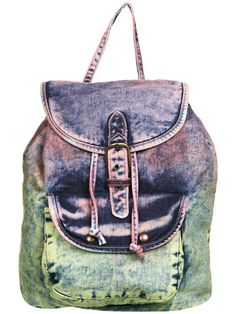 Fun acid-washed denim backpack!