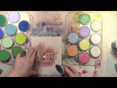 Sealing Pan Pastels Mixed Media Style with products from DecoArts. Stencils by StencilGirl.