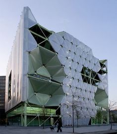 The best building in the world (World Architecture Festival). It is located in Barcelona. On the main facade ETFE has been used by a system of cushions. These are inflation and deflation producing shadows wich achieves significant energy savings. #inspirationCY