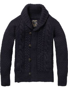 Heavy cable-knit, shawl-collar cardigan