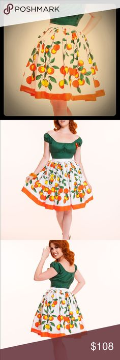 "Pinup Couture Jenny Oranges Border Skirt 2X NEW Gorgeous, retro, FULL, gathered circle fruit skirt, with colors of orange, yellow, black & green on a white background with white flat banded nipped waist. Non-stretch wide waistband is 36-39 inches, zip up back. Hips COMPLETELY free. Length approximately 26 inches not including waistband, hits me about 2 inches below my knee, I am 5'8"". Solid orange border hem. Sold out at PUG and VERY hard to find! New, never worn without tags, size 2X by…"