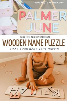 Baby Name Puzzle by WoodilyToys. Personalized name puzzle is the best wooden toy for a baby. Eco-friendly Montessori toys. Handcrafted in the USA. Engraved Baby Gift Boy's Name Puzzle Gift for Godchild New Baby Boy Baptism Gift New Born Montessori Puzzle Gift Godson Name Dedication. 1st Christmas gift, Baby Christmas gift, Personalized Christmas baby gift, Kids Christmas gift #nurserydecor #babyroom Wooden Toys For Toddlers, Wooden Baby Toys, Toddler Toys, Christmas Gifts For Kids, Christmas Baby, Nursery Themes, Nursery Decor, Baby Boy Baptism Gifts, Crochet Baby Toys