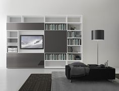PRESOTTO | Pari & Dispari bookcase with matt bianco candido ...