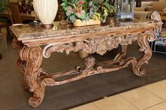 Marble Top Entry/Sofa Table - Colleen's Classic Consignment Las Vegas, NV - www.colleenconsign.com