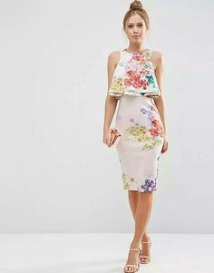Duplo Ruffle Floral Top Midi Vestido justo. DRICATURCA DELUXE BRANDS #day #dress