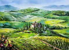 """картина масло холст Картина маслом """"Среди полей Тосканы. В поисках уединения"""", Хосе Родригес, LegacyArt"""