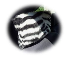 Zebra black & white stripe animal print faux fur furry fluffy fuzzy car seat headrest covers 1 pair stripey