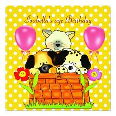 Kid's Birthday Party Spot Cats Dogs friends 4 Card