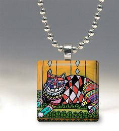 Cat Necklace Animal Folk Art Jewelry - Pendant Glass Gift Art Heather Galler Gift- Cat Lovers Abstract Modern Colorful