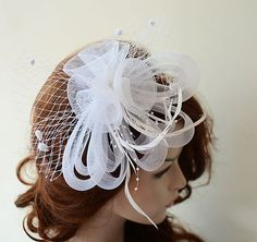 White Fascinator Head Piece Bridal Fascinator Wedding by ADbrdal