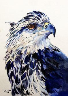 Grey Eagle Portrait, Wild Bird, Wildlife ORIGINAL WATERCOLOR PAINTING by alisiasilverART on Etsy