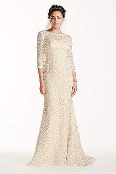 View 3/4 Sleeves Long Wedding Dress at David's Bridal