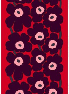 This heavyweight cotton sateen features Maija Isola's iconic Unikko pattern from in bright red, violet, and pink. Graphic Design Inspiration, Color Inspiration, Cool Patterns, Print Patterns, Marimekko, Color Stories, Pattern Art, Flower Power, Printing On Fabric